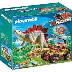 PlayMobil 4Ani+ Cercetator - Masina Teren si Stegosaurus imagine