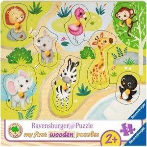 Puzzle Copii 2Ani+ din lemn animale zoo, 8 piese imagine
