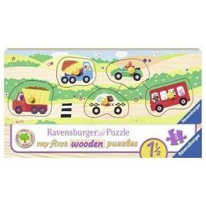 Puzzle Copii 18Luni+ din lemn cu vehicule, 5 piese imagine