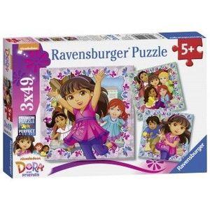 PUZZLE Copii 5Ani+ DORA SI PRIETENII, 3x49 PIESE imagine