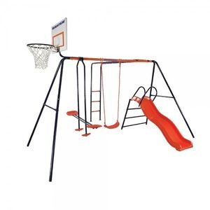 Spatiu de joaca pentru copii Atlas MVS cu leagan tobogan balansoar scara si cos de baschet imagine