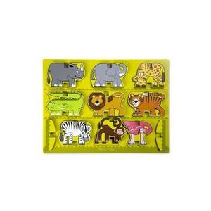 Stacking wooden chunky puzzle. Puzzle in relief, Animale de la zoo imagine