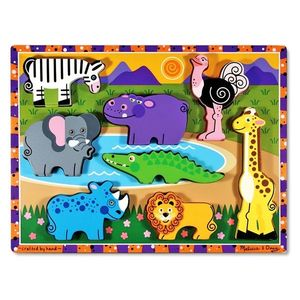 Melissa & Doug - Puzzle lemn in relief Safari imagine