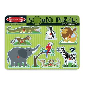 Puzzle de Lemn cu Sunete Animale de la Zoo imagine