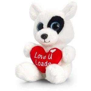 Animalut de plus alb Sparkle Eyes cu inimoara 20 cm Keel Toys imagine