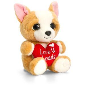 Animalut de plus crem Sparkle Eyes cu inimoara 20 cm Keel Toys imagine