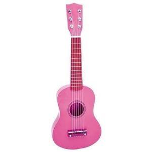 Chitara din lemn ROZ cu stickere imagine