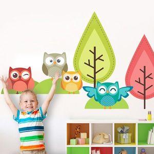 Stickere perete copii Bufnite la joaca - 120 x 114 cm imagine
