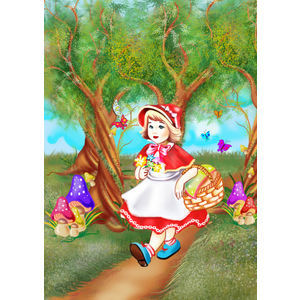 Tablou canvas Scufita Rosie la plimbare 35 x 50 cm imagine