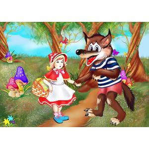 Tablou canvas Scufita Rosie si lupul in padure - 35 x 50 cm imagine