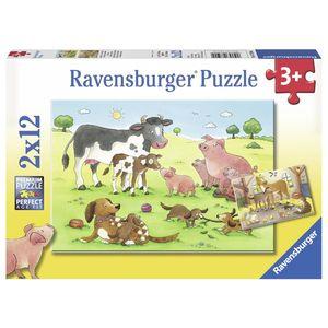 Puzzle familii animale, 2x12 piese - Ravensburger imagine