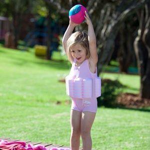 Konfidence - Costum inot copii cu sistem de flotabilitate ajustabil pink stripe 4-5 ani imagine