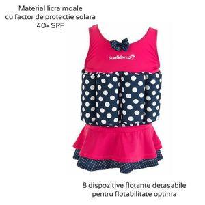 Konfidence - Costum inot copii cu sistem de flotabilitate ajustabil Pink Skirt 1-2 ani imagine