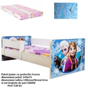 Promo junior Frozen cu saltea si lenjerie CADOU imagine