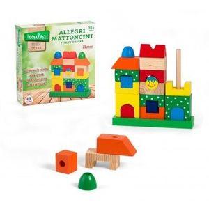 Jucarie Educativa Din Lemn Cuburi De Stivuit Colorate imagine