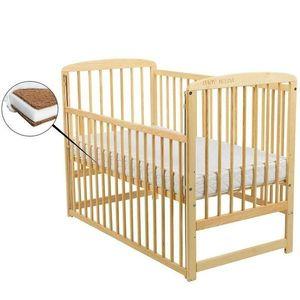 BabyNeeds - Patut din lemn Ola 120x60 cm, cu laterala culisanta, Natur + Saltea 8 cm imagine