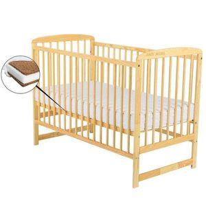 BabyNeeds - Patut din lemn Ola 120x60 cm, Natur + Saltea 8 cm imagine
