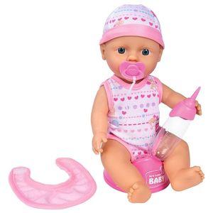 Papusa Simba New Born Baby Bebe Darling 30 cm cu olita si bavetica roz deschis imagine