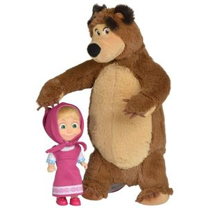 Set Simba Masha and The Bear papusa Masha 12 cm si ursulet de plus 25 cm imagine
