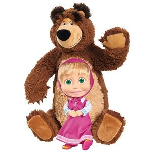 Set Simba Masha and The Bear papusa Masha 23 cm si ursulet de plus 43 cm imagine