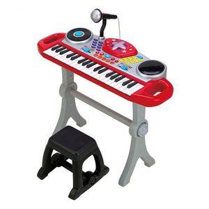 Orga muzicala cu scaunel Winfun Consola DJ cu platane si microfon Rosu cu negru imagine