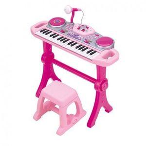 Orga muzicala cu scaunel Winfun Consola DJ cu platane si microfon Roz imagine