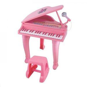 Mini Pian cu scaunel si microfon Winfun 37 clape cu functie inregistrare Roz imagine