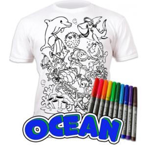 Tricou de colorat cu markere lavabile Ocean imagine