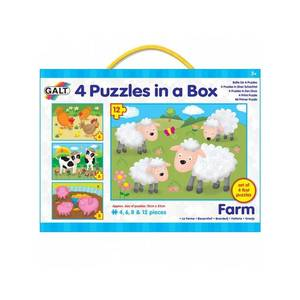 Set 4 puzzle-uri animale de la ferma (4, 6, 8, 12 piese) imagine