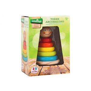 Joc De Stivuit Din Lemn Pentru Bebelusi Turn Cu Cercuri Colorate imagine