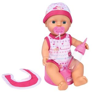 Papusa Simba New Born Baby Bebe Darling 30 cm cu olita si bavetica roz inchis imagine