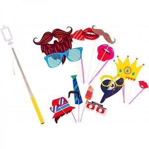 Set accesorii petrecere haioase Globo 38257 masti foto si selfie stick imagine