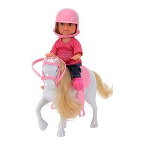 Papusa Evi Love cu ponei si casca roz imagine