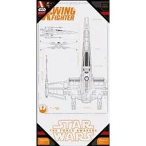 Poster Star Wars Episode 7 X-Wing Blue Print Glass imagine