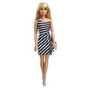 Jucarie Mattel Barbie Doll Glitz Outfits & Accessories Blond Doll With Black & White Lines Dress imagine