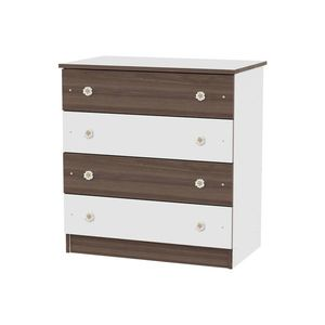 Comoda lemn 4 sertare White Walnut imagine