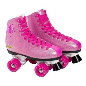 Patine cu rotile pentru fete Saica 6992 Shak marime 35 roz cu sclipici imagine