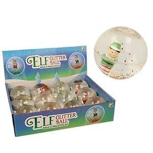 Jucarie - Bila de cauciuc transparenta cu elf si sclipici | Keycraft imagine