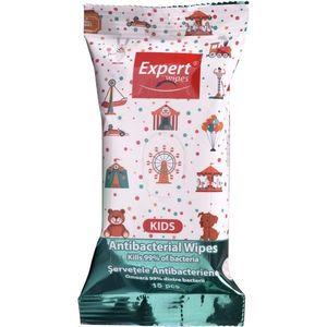 Servetele antibacteriene Expert Wipes Kids, 15 buc imagine