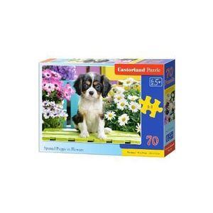 Puzzle 70. Spaniel Puppy in Flowers imagine