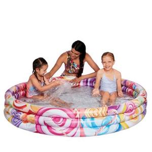 Piscina gonflabila cu 3 inele Candy World 122x23 cm imagine