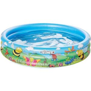 Piscina gonflabila cu 3 inele si imprimeu Flower and Friends 100x23 cm imagine