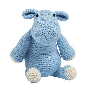 Jucarie crosetata manual, hipopotam albastru, Annelise - Maimutzeria Tiarra imagine