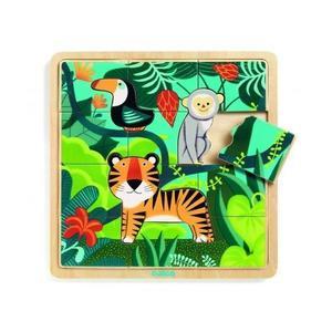 Puzzle incastru de lemn - Jungla animalelor - Djeco imagine