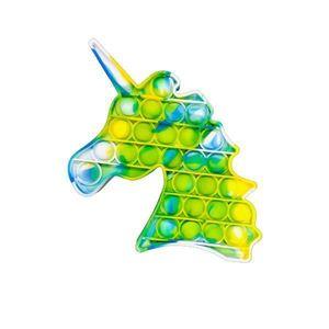 Jucarie antistres Push Pop Bubble, Pop It, Unicorn, Multicolor, Lime splash 13x10 cm - Shop Like A Pro imagine