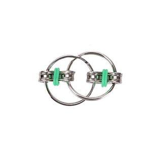 Jucarie senzoriala antistres, Fidget Metalic Triplu Spinner, Verde, 3 cm, +3 ani - Shop Like A Pro imagine