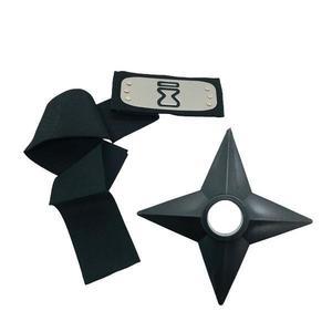 Set Bandana Naruto Simbolul Nisipului, 90 cm si Shuriken Ninja din plastic, Negru imagine
