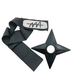 Set Bandana Naruto Simbolul Ierbii, 90 cm si Shuriken Ninja din plastic, Negru imagine
