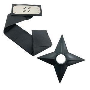 Set Bandana Naruto Simbolul Cetii, 90 cm si Shuriken Ninja din plastic, Negru imagine