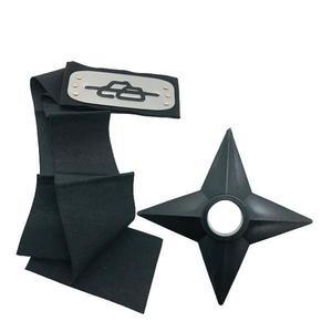 Set Bandana Naruto Simbolul Pietrelor, 90 cm si Shuriken Ninja din plastic, Negru imagine